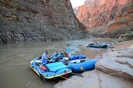 Whitewater rafts on shore at Ledges Camp in the Grand Canyon