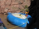 Upside down raft after flip in Hermit Rapid, Grand Canyon