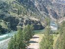 The view from a cliff above Woolard Camp on the Middle Fork of the Salmon as it winds through the canyon