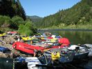 Rafting trip stopped at Battle Bar Camp on the Rogue River