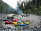 Looking across a line of rafts at Big Squaw Camp, Main Salmon