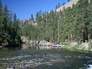 Looking upstream and across the Middle Fork at Marble Creek Left Camp on a beautiful morning