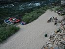 Looking down on rafts and people at Solitude Camp, Middle Fork of the Salmon