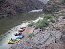 Rafts on the shore at Across Deer Creek Camp, Grand Canyon