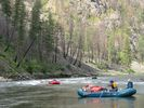 Three rafts going down a minor rapid on the Main Salmon River