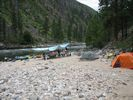 A rafting trip camped at Bargamin Creek on the Main Salmon River